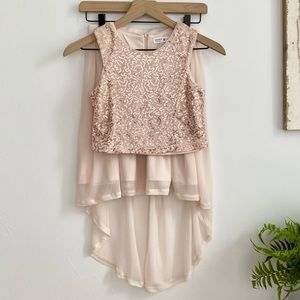 Beautees Girls Blush Pink Sequins Skirt Set SZ 10
